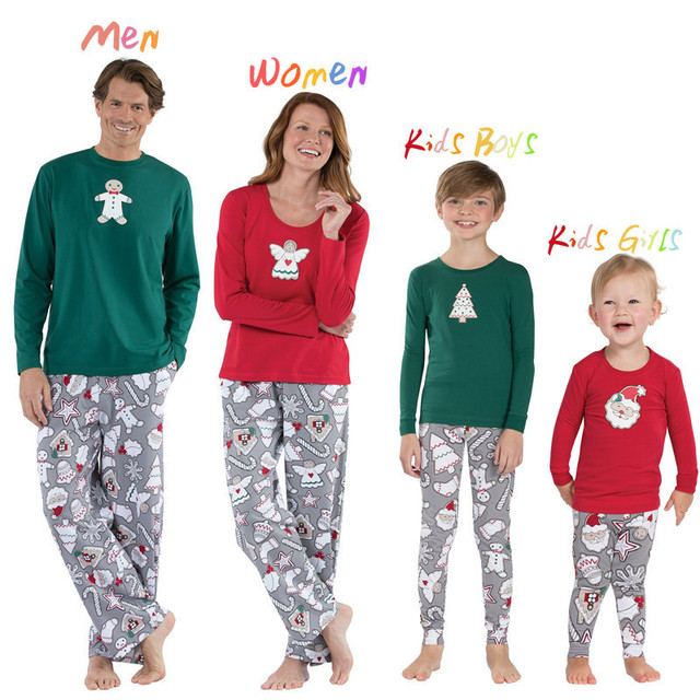 201454f9d3 Xmas Family Matching Christmas Pajamas Set 2018 Women Baby Kids Sleepwear  Nightwear mommy daughter son father clothes outfits