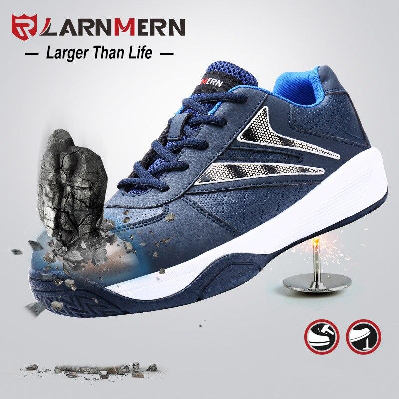 LARNMERN Men Steel Toe Work Safety Shoes Steel Toe Outdoor Protective Security Footwear Steel Midsole Sport Safety Sneaker Shoes guess sport steel w0366g4