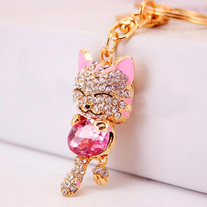 Saco de gato Chaveiro 2016 Bonito Strass Cristal Ouro Mulheres Bolsa Charme  Chaveiro de Metal Chave Anéis Pingente 39b8fc59e7