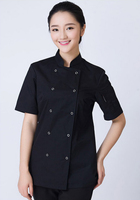 2017 Rushed Top Fashion Summer 2017 Women's Short Sleeve Chef Uniform Western Restaurant Five Star Hotel Jacket Stand Collar