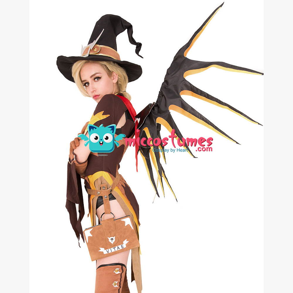 Witch Mercy Cosplay Costume for Halloween with Wings 2