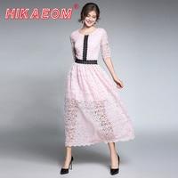 New Lace Stitching Elegant Summer Women Short Lace Dress Half Sleeve O Neck Cute Pink Floral Crochet Chiffon Dress New Arrivals