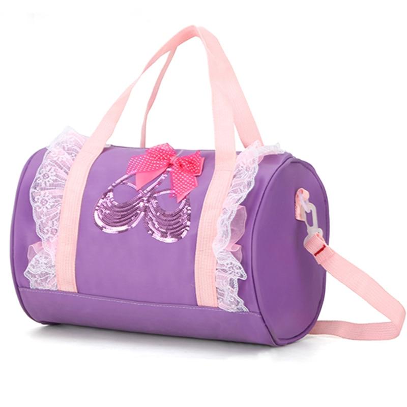 Purple Girls Embroidery Canvas Ballet Bag For Girls Pink Ballet Handbags For Children Ballet Shoes Shoulder Bag Kid Dancing Bags