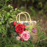 Handmade 2017 Vintage Pastoral Straw Bags Totes With Floral For Summer Beach Handbag Women Causal Travel