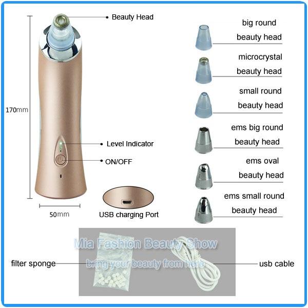 Handheld USB Charge 62KAPA Strong EMS Vacuum Microdermabrasion Face Nose Blackhead Suction Machine