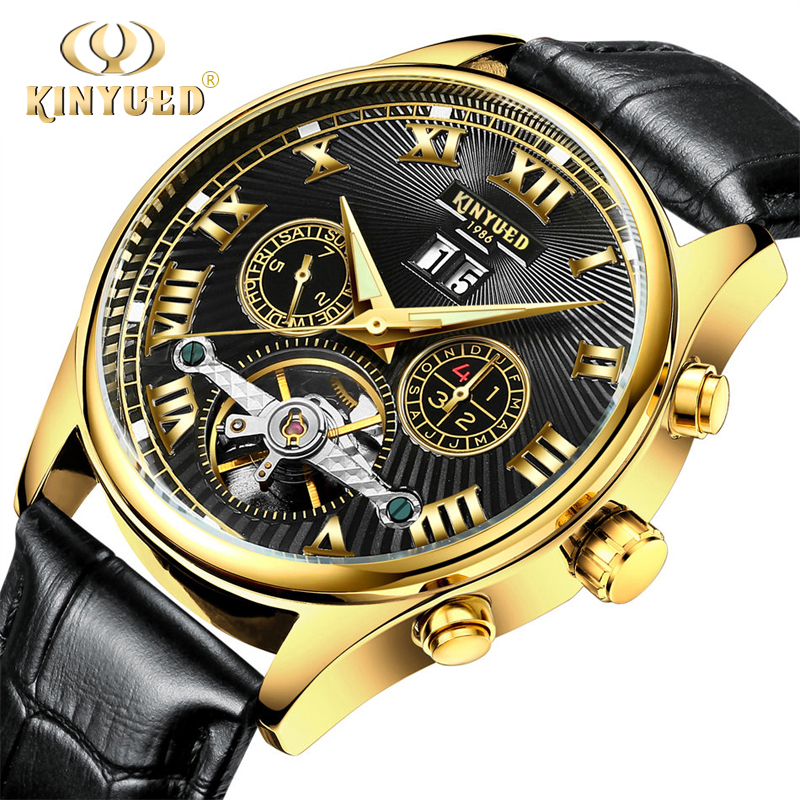 KINYUED Mens Wrist Skeleton Watch Automatic Gold Leather Waterproof Mechanical Wriswatch Calendar Self-wind Horloge Mannen women favorite extravagant gold plated full steel wristwatch skeleton automatic mechanical self wind watch waterproof nw518