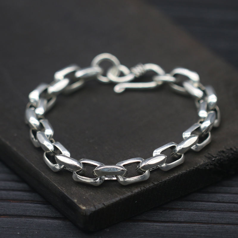 8mm Solid Pure Sterling Silver 925 Mens Chain Bracelet Simple Cool Style Thai Silver Mens Jewelry Polished Link Chain Free Box 8mm solid pure sterling silver 925 mens chain bracelet simple cool style thai silver mens jewelry polished link chain free box