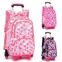 On wheels Girls Trolley School backpacks wheeled bags for girls kids Travel luggage Rolling Bags School Trolley bag Backpack sac