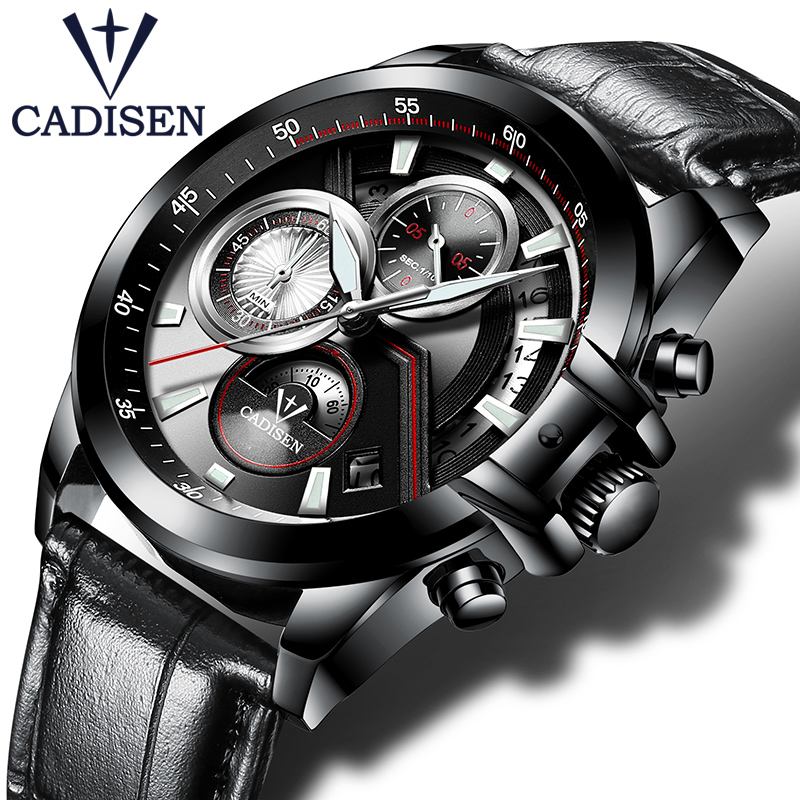 NEW 2018 Brand CADISEN Watches men Fashion Casual Quartz Watch Man Waterproof Sports Military Stainless Steel Wrist watches