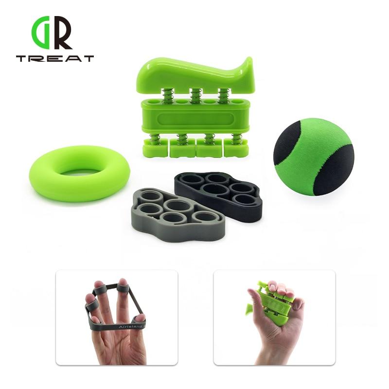 GR Treat Hand Grip Strengthener Kit Strength Finger Stretcher Exercise Trainer