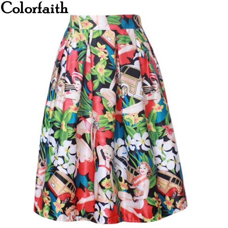 2016 Retro Vintage Ladies Elegant Fashion Floral Print High Flared Pleated Waist Midi Skirt Holiday Wear Saia Femininas SK8196