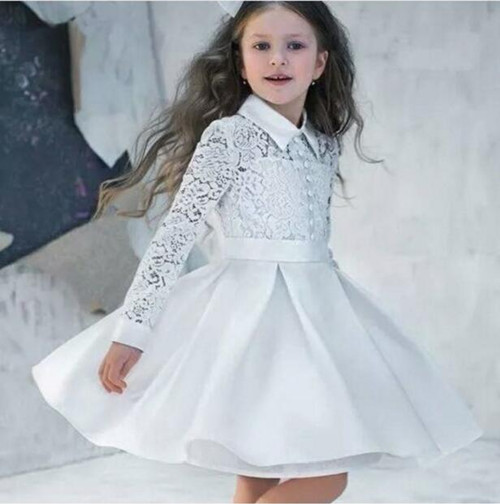 2017 New White Little Girls Lace Dress with Long Sleeve Turn Down Collar Princess Formal Wear Kids Gown Knee Length Any Size women formal dresses for work elegant office pencil bodycon short sleeve turn down collar with belt dark blue summer dress