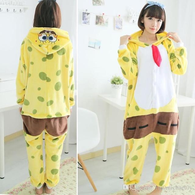 378f5ed22943 Spongebob One Piece Pajama Onesies For Adult Cute Animal Pajamas Onesies  Men Women Animal Onesies Jumpsuit Pajama