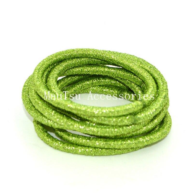 50pcs 4mm Lemon Green Glitter Elastic Hair Bands Ponytail Holders