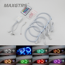 4X 131mm RGB Multi-Color 5050 132Smd Flash LED SMD Angel Eyes Kit Xenon Headlight For BMW E36 E38 E39 E46 3 5 7 Series