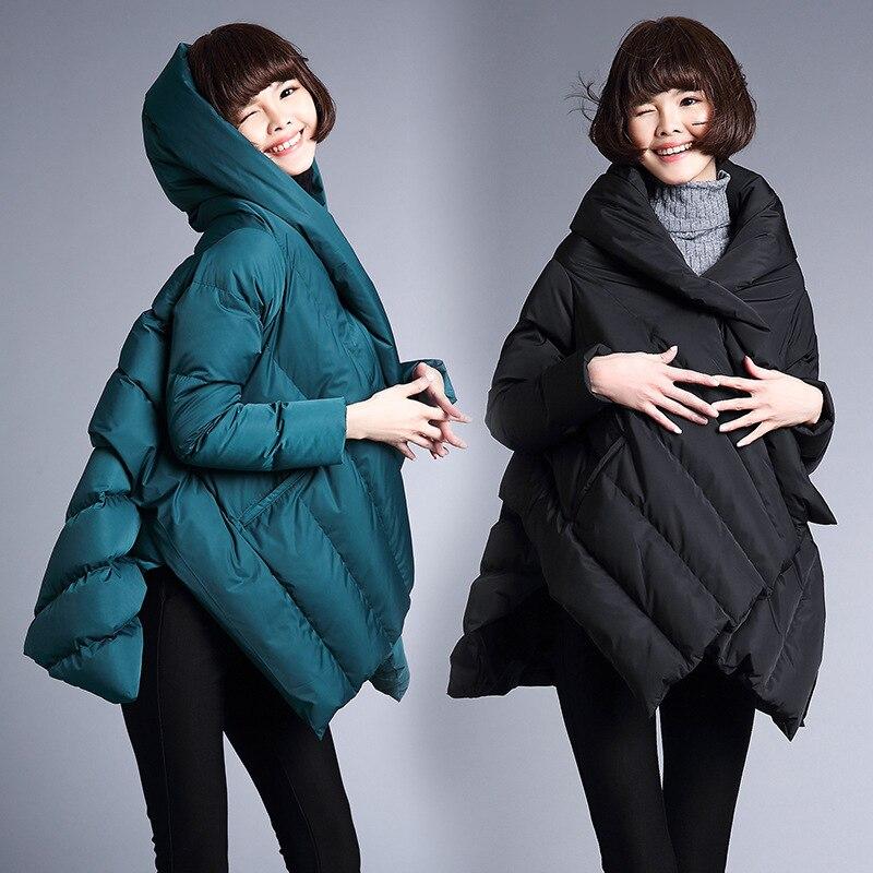 Hooded Down Women Coat Cloak Designers Luxury Winter Coats 2017 Womens Long Cape Jacket Ladies Duck Jackets Poncho Windbreaker