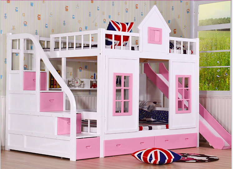 Kinder etagenbett holz 2 boden leiter arche mit rutsche bett rosa ... | {Kinder schlafzimmer 30}