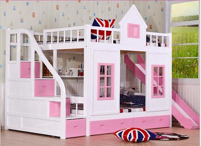 Kinderen stapelbed houten 2 floor ladder ark met glijbaan bed roze ...