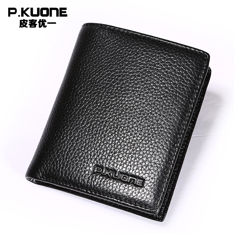 P.KUONE New Genuine Leather Men Purse Small Wallet Passport Cover RFID Business Men Credit Card Holder Luxury Brand Money Clamp famous brand new passport card holder