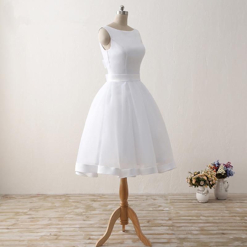 Simple Cheap Short Wedding Dresses 2017 White Knee-Length Wedding Bridal Gowns Sleeveless Scoop Neck Bow Back Robe De Mariage 3