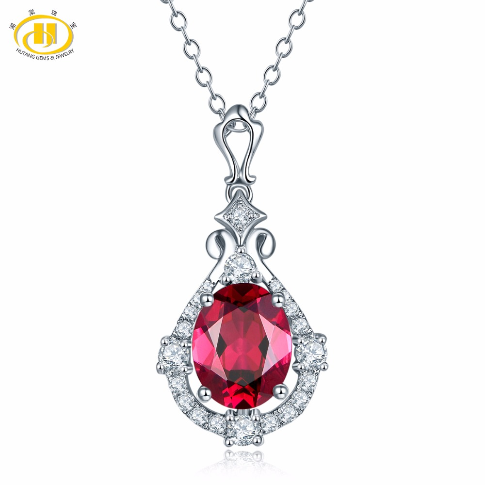 Hutang Natural Gemstone Rhodolite Garnet Necklace 925 Sterling Silver Flower Bud Necklaces & Pendants For Women Fine Jewelry