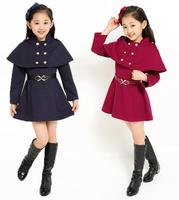 Autumn winter two piece dresses for girl jacket outwear shawl cape coat+dress kid clothing A line dress princess party children