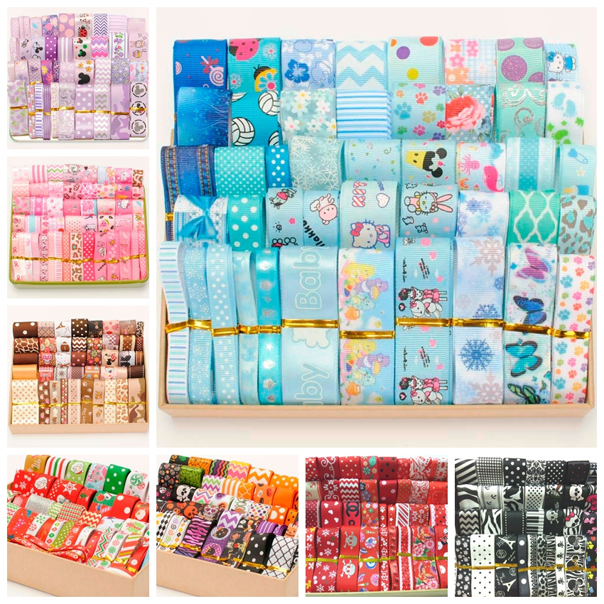 Mix Ribbon Color Set Baby Color Pink Blue Hairbow Ribbon Style/size Randomly 12y/lot (1y/pc) Hairbow Ribbon