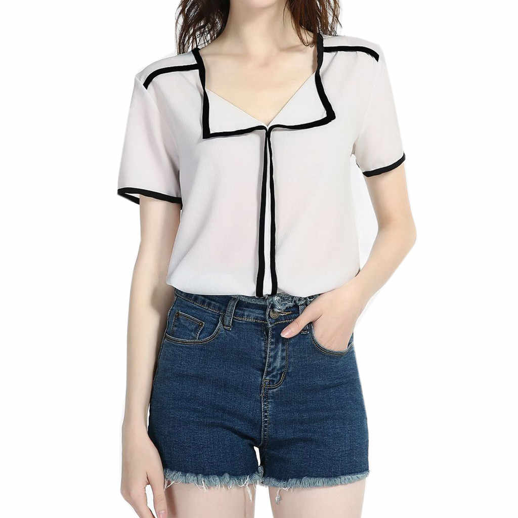 Women's Short Sleeve V-Neck Blouse Casual Solid Fresh Sweet Chiffon Shirt Blouse Camisetas Verano Mujer 2019 NEW