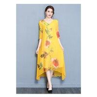 New Summer Autumn Women Silk Dress Loose Printing Casual Style Dress Sexy V neck Half Sleeve Elegant Female Dress M 3XL PP 389