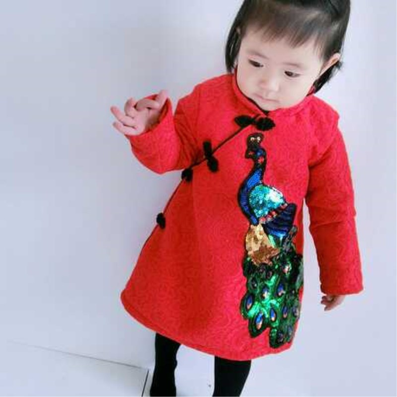 /2018/new style/ children Chinese Wind dress baby new year clothes /girl/ cashmere Tangzhuang Qipao new