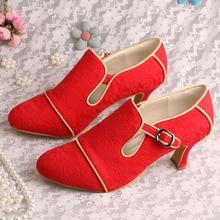 Wedopus MW189เสื้อสายคล้องก้อนส้นรองเท้าแต่งงานสีแดงลูกไม้D Ropshipping