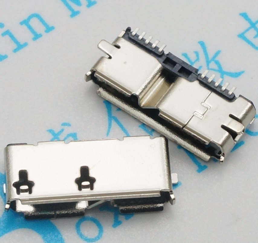 50pcs Micro USB 3.0 B Type SMT Female Socket SMD2 10pin USB Connector for Mobile Hard Disk Drives Data Interface wholesale 20 pcs micro usb type b female 5 pin smt placement smd dip socket connector plug adapter