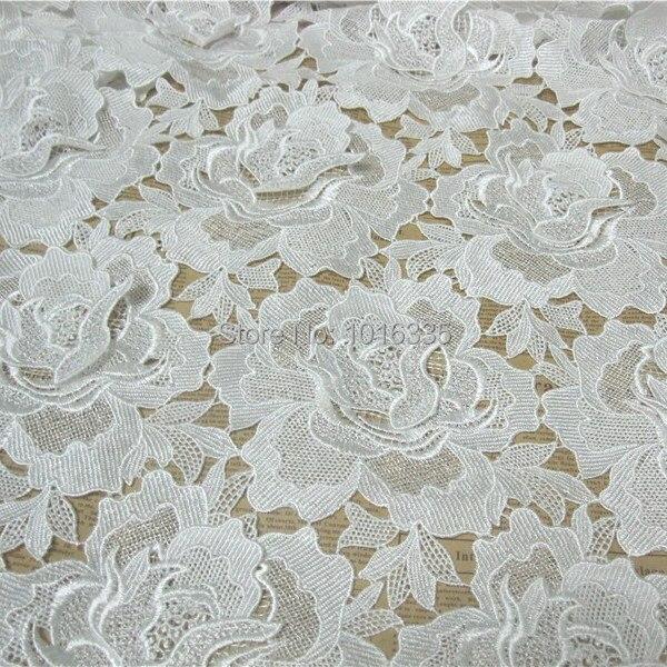 6dda6486ac Nowy przyjeżdża 120 cm szerokość Wielki Kwiat haftowane gipiury koronki  tkaniny