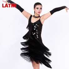 limited offer 4 colors Latin dance dress  for competition women bule/white sequins tassel tango/rumba/samba dance cotumes