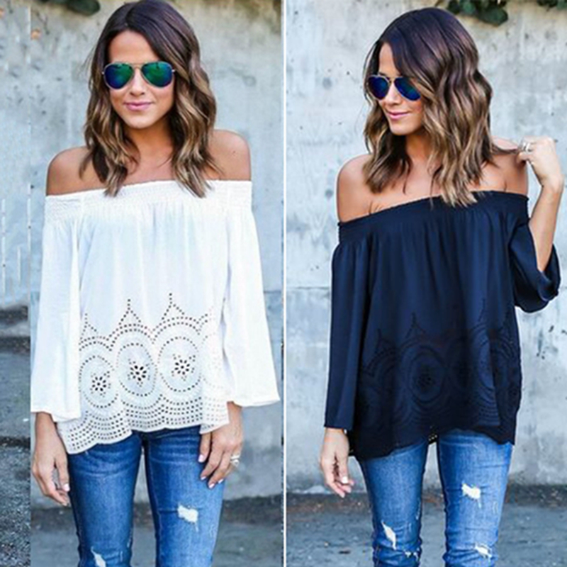 HOT 2016 Womens White Lace Chiffon Blouse Casual Loose Shirts Sexy Off Shoulder Long Sleeve Tops Boho Cover Up blusas femme Z2