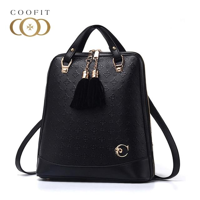 Coofit Fashion Girls PU Leather Backpacks Women Female Rivet Backpack Small School  Bags Unique Tassel Zipper Rusksacks Daypack eff12f43b7ae7