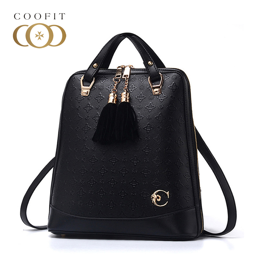 ... women backpacks PU  best loved 454a6 866a0 Coofit Female PU Leather  Backpack Casual Deer Pattern Embroidery Mini Backpack For ... 6f90bdd45e