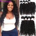 Profunda Onda peruano Com Fecho de 3 ou 4 Feixes Peruano Virgem cabelo Com Fechamento 7a Cabelo Humano Cabelo Encaracolado Peruano Com Fecho