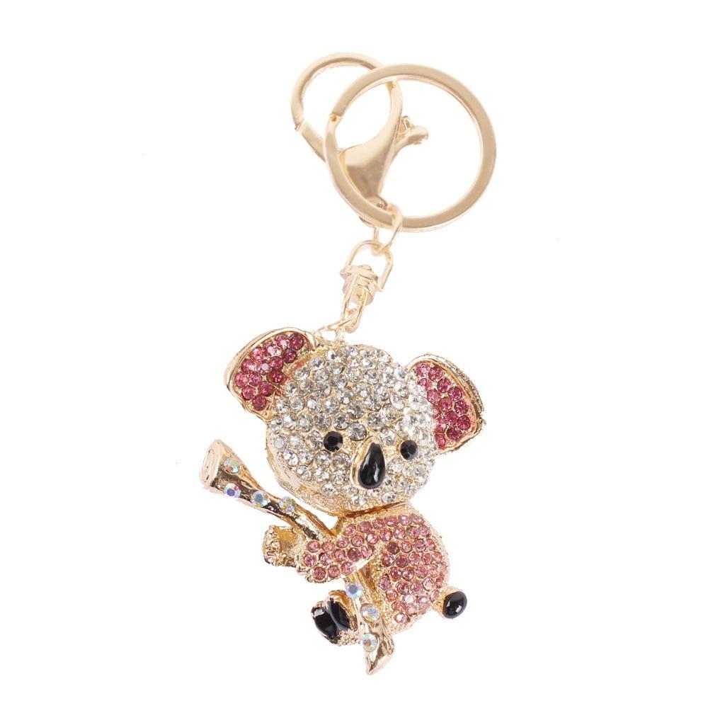 Hot Koala Pink Bear Tree Charm Lovely Pendant Charm Crystal Purse Bag Keyring Key Chain Women In Jewelry Cute Gift