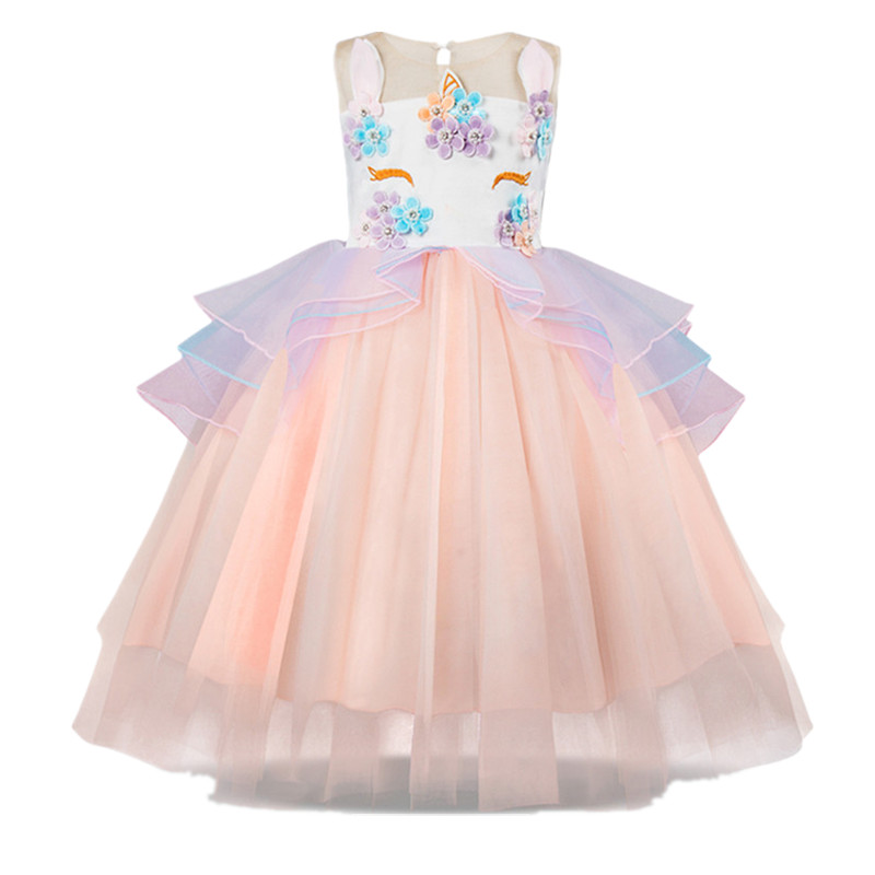 цены на New Kids Girls Unicorn Beading Floral Mesh Tutu Dresses Party Pageant Formal Dress Sleeveless Tulle Cosplay Dress Girls clothes в интернет-магазинах
