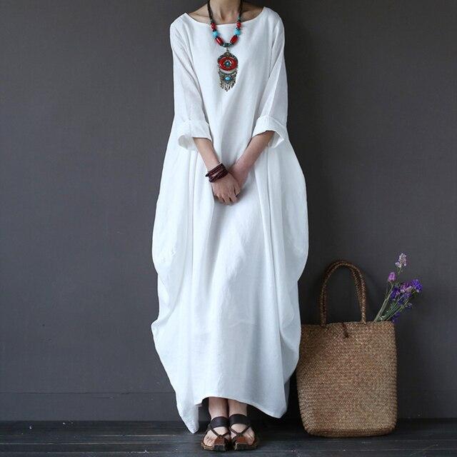 faad48bbfd8f576 Хлопковое льняное белое платье Макси женское весенне-летний свободный крой  плюс размер большой подол халат в стиле бохо Длинные платья рук.