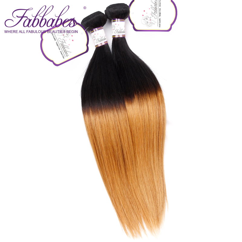 Fabbabes Hair Brazilian 1/27 Straight Human Hair 3 Bundles Hair Extentions Ombre Color 10-26inch Remy Hair Free shipping