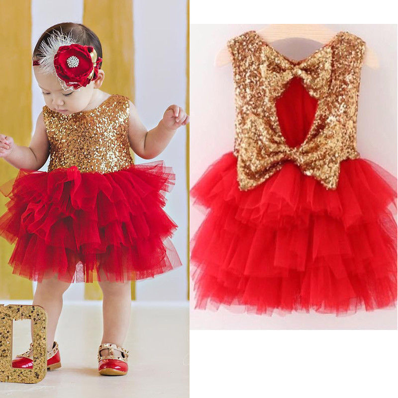 Toddler Girls Dress Fashion Baby Girl Gold Sequined Dress Hollow Out Bow Sleeveless Tutu Cake Party Dress Little Princess Dress