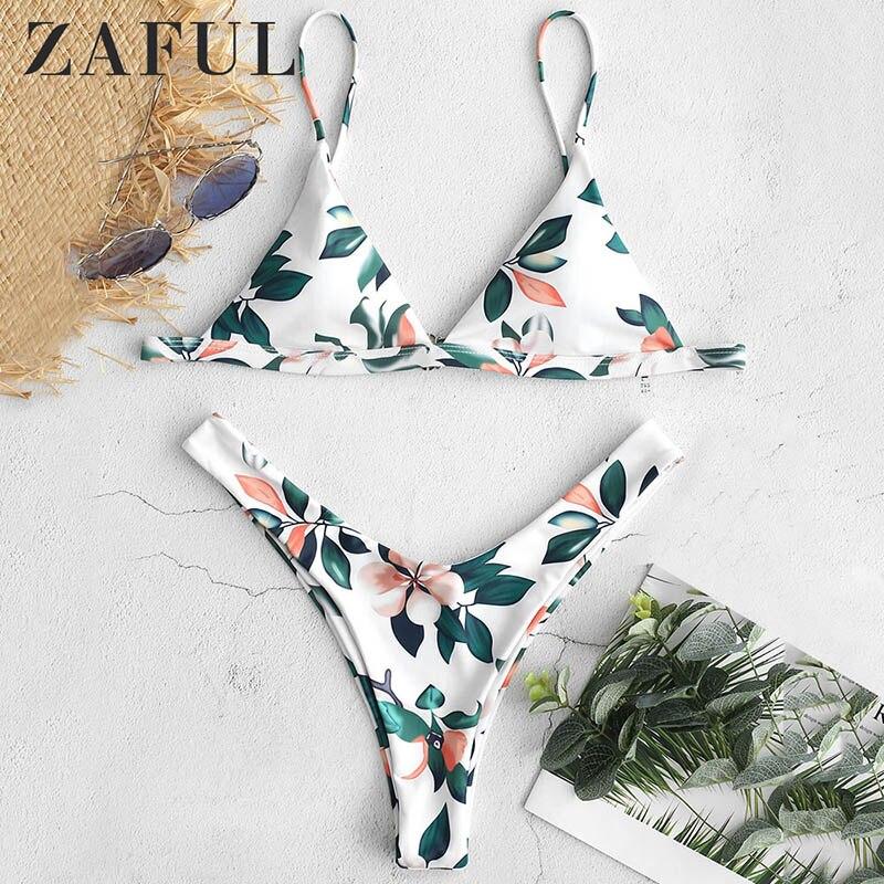 8423c0c4c412 Bikini con estampado de hojas de ZAFUL Micro Bikini 2019 Bikini de corte  alto acolchado correas espagueti traje de baño mujer Sexy Tanga brasileño  ...
