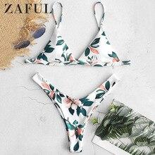 54f380074e ZAFUL feuille imprimé Micro Bikini 2019 plongeon haute coupe Bikini  rembourré bretelles Spaghetti maillots de bain femmes Sexy s.