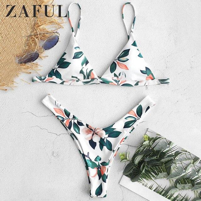 121924bc3a5007 ZAFUL Leaf Print Micro Bikini 2019 Plunge High Cut Bikini Padded Spaghetti  Straps Swimwear Women Sexy Thong Brazilian Biquini