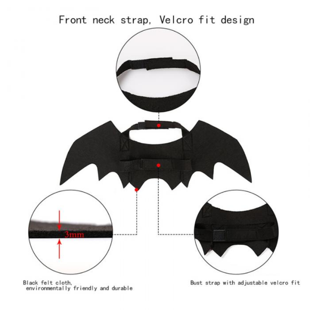 LINSUNG Cosplay Prop Costume Outfit Wings Halloween Props Bat Fancy Dress Pet Dog Cat Bat Wing Halloween Vampire With Bell