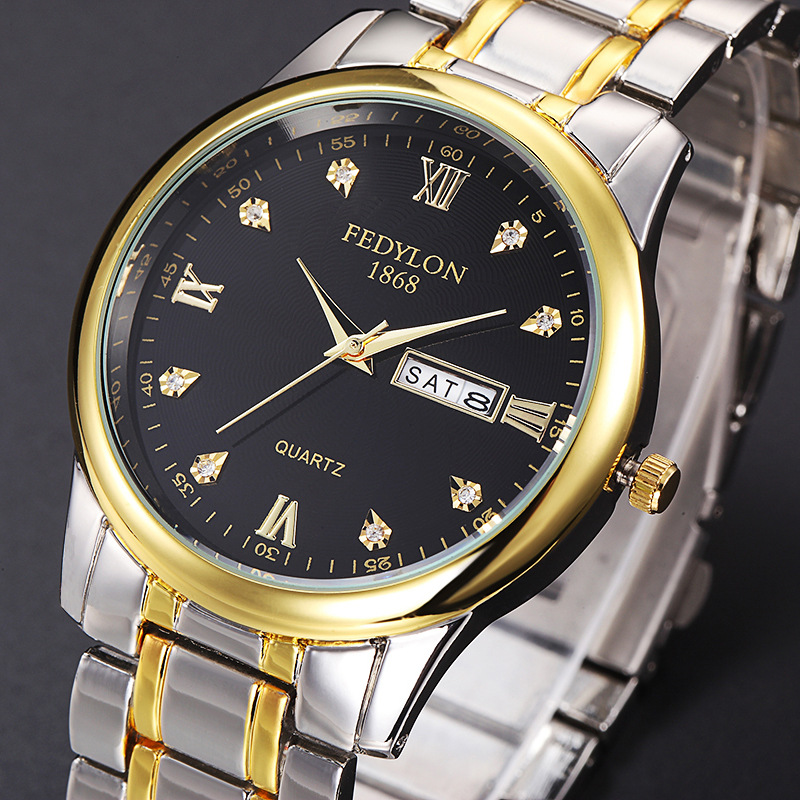 Luxury Brand Top Quality Full Stainless Steel Men Women lovers Day Date Quartz Watch Fashion Rhinestone