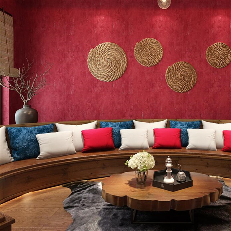US $28.4 29% OFF|wellyu Retro pure color red wallpaper burgundy big red  living room bedroom KTV background wall paper clothing store wallpaper-in  ...