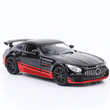 1:32 decast car model Benz AMG GTR sports alloy simulation 6 door sound and light pull back toy